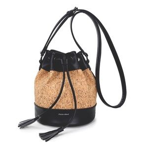 Pixie Mood cork black faux leather bucket bag
